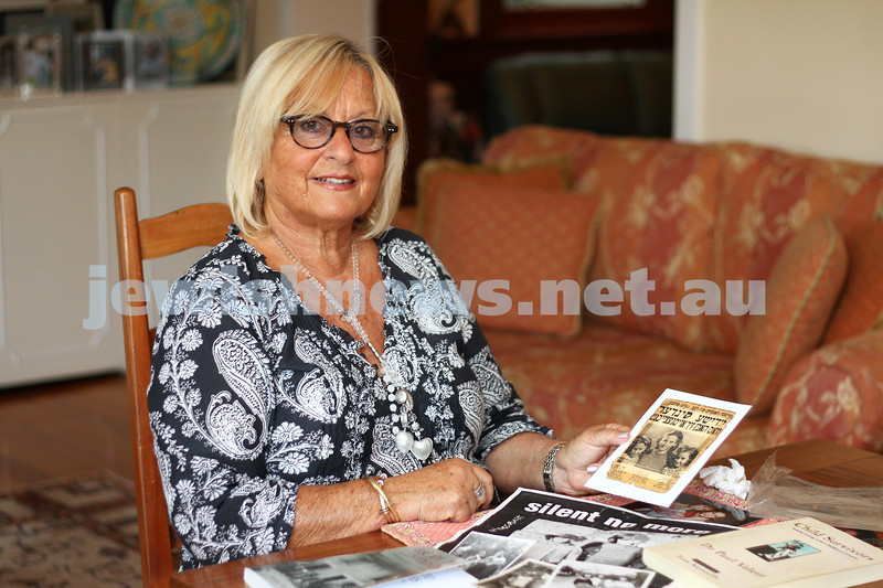 Holocau<br /> Child Holocaust survivor Bernadette Gore with some of the photos of her childhood in France. Photo: Peter Haskin