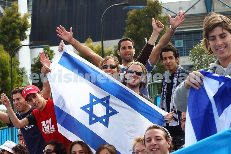 Australian Open Tennis Championships 2010. Israeli flag. Dudi Sela fans. Photo: peter Haskin