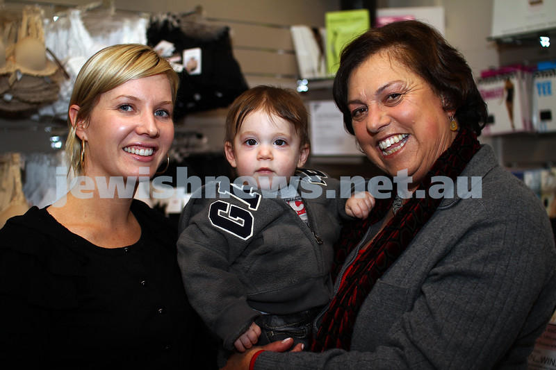 NCJWA (VIC). Mum and me program. Manager of Ce Soir, Naomi Carter (left), with baby Asher, Vivien Brass. Photo: Peter Haskin