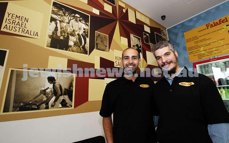 "Kosher restaurants in Melbourne. Owner of the new ""Falafal Omisis"" in Hawthorn rd, Yaakov Omisi (left) with Levi Maatouf. . Photo: Peter Haskin"