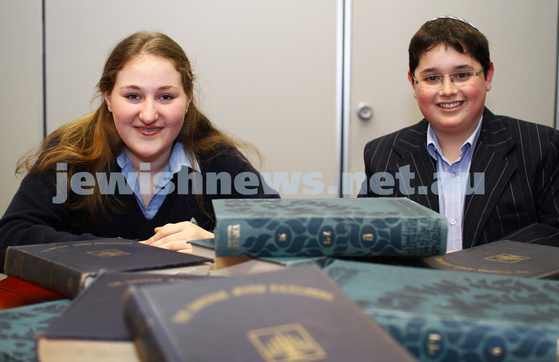 8-11-11. National bible quiz wiiner. Zahava Rosenblun, 16 yrs old, Year10 student at Beth Rivah. Matthew Lichtig, 14 yrs old, Year 8 student at Yavneh. Photo: Peter Haskin