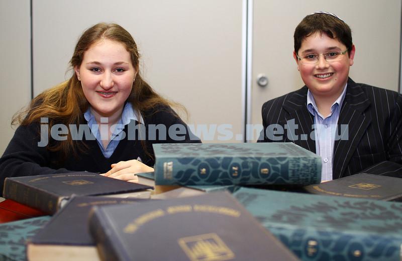 8-11-11. National bible quiz wiiner. Zahava Rosenblun, 16 yrs old, Year10 student at Beth Rivah. Matthew Lichtig, 14 yrs old, Year 8 student at Yavneh. Photo: Peter Haskin