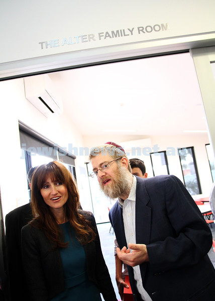 13-11-11. Opening of new buildings at Yeshivah and Beth Rivkah. Ruth Alter with rabbi Shmulli Block. Photo: Peter Haskin