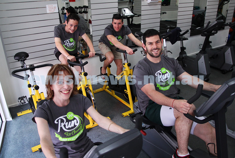 Run for Change.  Memebers of   Jewish Aid Australia get into training for the upcoming run. Photo: Front: Lisa Buchner, Gary Samowitz. Back: Charlie Buchner (left), Dean Levitan.Photo: :Peter Haskin.