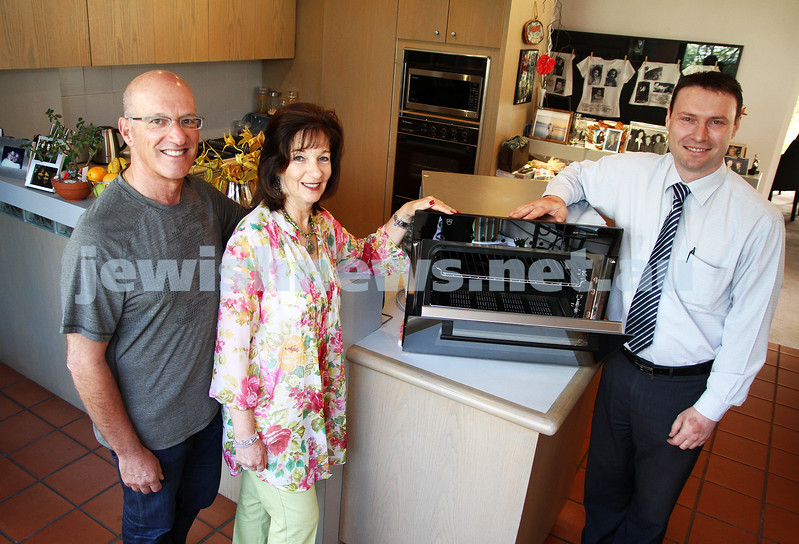 Vzug oven prize winner. Clive and Fran Sondheim with Phillip Knight. Photo: Peter Haskin