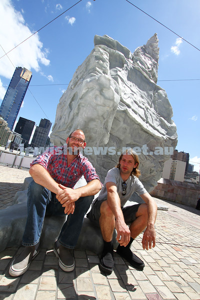 15-11-11.  Isaac Greener (left) and Lucas Maddock  with their Apostle 2 sculpture which won the 2011 Melbourne prize for urban sculpture. photo: Peter Haskin