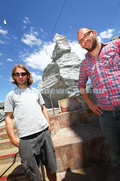 15-11-11.  Lucas Maddock (left) and Isaac Greener with their Apostle 2 sculpture which won the 2011 Melbourne prize for urban sculpture. photo: Peter Haskin