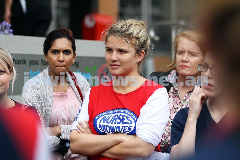 22.11.11. Ella Holcdorf (centre) at a Nurses union meeting outside The Alfed Hospital. photo: Peter Haskin