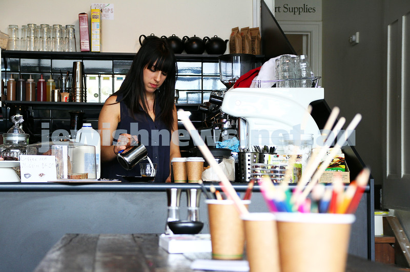 "4-10-11. Maya Lester working in her new cafe ""Untitled"". Photo: Peter Haskin"