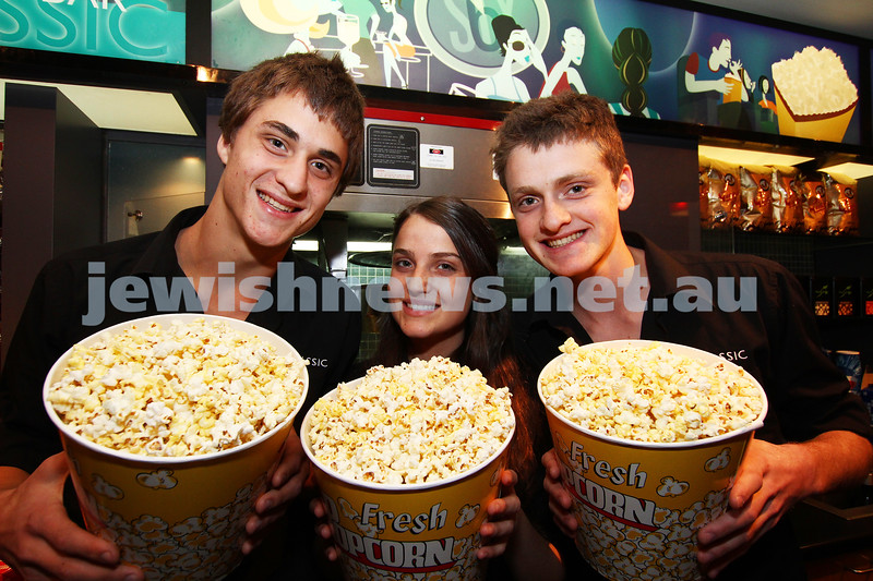 30-8-11. Clasic Cinema goes kosher popcorn. From left: Benji, Rachel and Josh Tamir showing off the cinema's new kosher popcorn. Photo: peter haskin