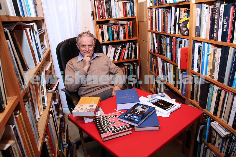 "20-9-11. Serge Liberman, author of ""A Bibliography of Australasian Judaica"", sits in his referance library at home. Photo: Peter Haskin"