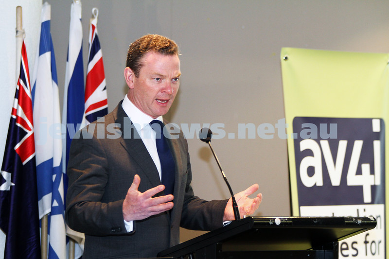 6-9-11. More than 200 people were on hand at the Beth Weizmann Community Centre for the inaugural meeting of the Australian Voices 4 Israel. Guest speaker was Christopher Pyne MP. Photo: Peter Haskin