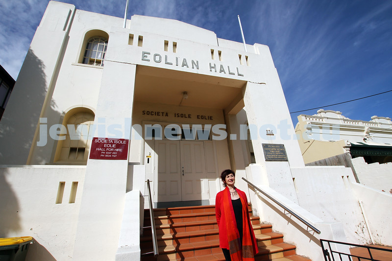 7-9-11. Anna Epstein, curator of the Jewish Museum exhibition: Mameloshn – How Yiddish Made a Home in Melbourne, standing outside the old Kadima building at 836 Lygon Street. Photo: Peter Haskin
