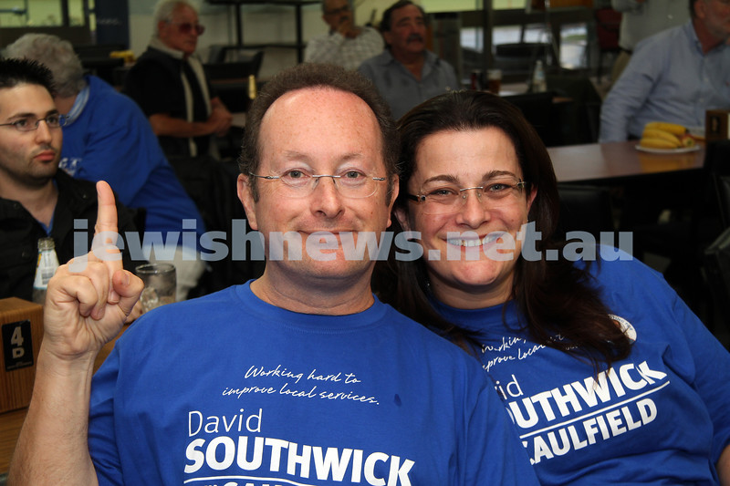 Victorian State election night. November 27, 2010. Supporters of Liberal candidate for Caulfield, David Southwick  gathered at the Caulfield lawn bowls club for results. Bernie and Justine Kuran. Photo: Peter Haskin