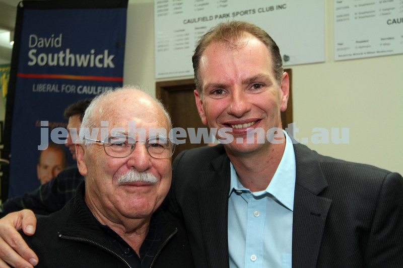 Victorian State election night. November 27, 2010. Supporters of Liberal candidate for Caulfield, David Southwick  gathered at the Caulfield lawn bowls club for results. Joe Aarons, David Southwick. Photo: Peter Haskin