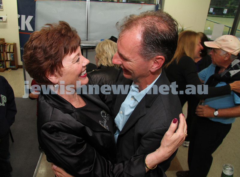 Victorian State election night. November 27, 2010. Supporters of Liberal candidate for Caulfield, David Southwick  gathered at the Caulfield lawn bowls club for results. Retiring member for Caulfield Helen Shardey congratulates David Southwick. Photo: Peter Haskin