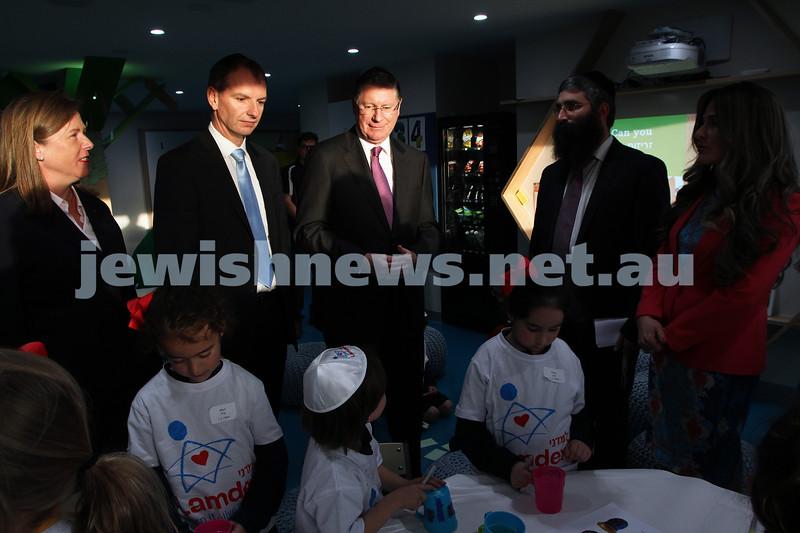 12-8-13. Hamerkaz Centre. Victorian Premier Dr Denis Napthine visits the new Centre to officially open the Lamdini School. Photo: Peter Haskin
