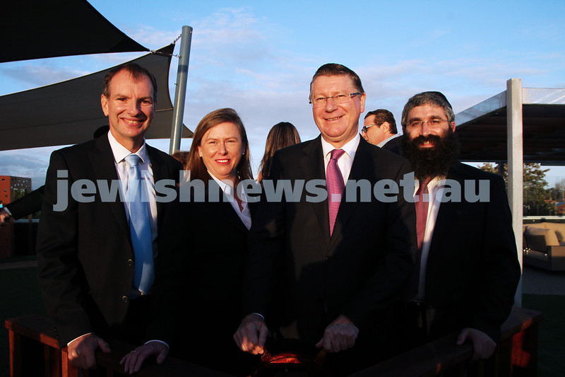 12-8-13. Hamerkaz Centre. Victorian Premier Dr Dennis Napthine visits the new Centre to officially open the Lamdeni School. From left: David Southwick, Elizabeth Miller, Dennis Napthine, Rabbi Motty Liberow. Photo: Peter Haskin