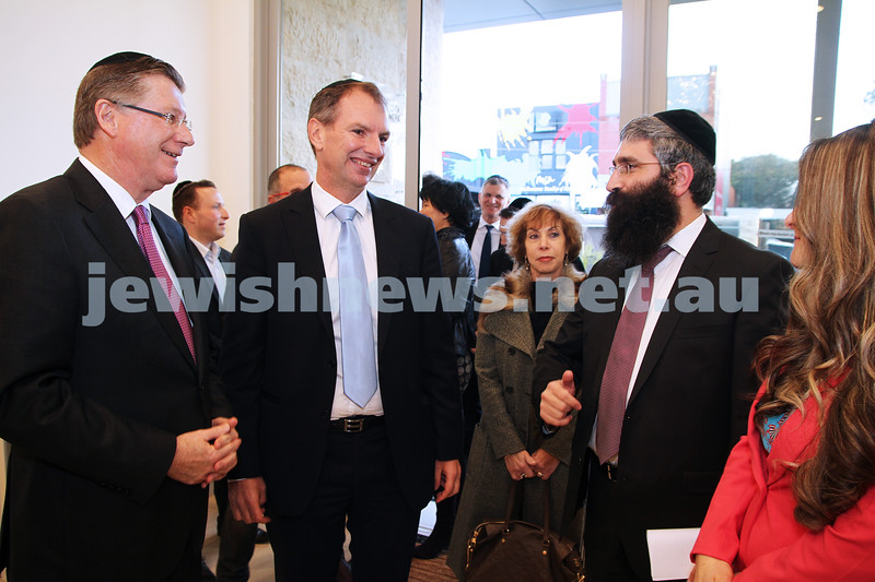 12-8-13. Hamerkaz Centre. Victorian Premier Dr Denis Napthine visits the new Centre to officially open the Lamdini School. From left: Premier Denis Napthine, David Southwick, Rabbi Motty Liberow. Photo: Peter Haskin