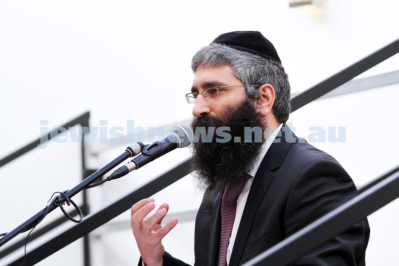11-8-13. Hamerkaz Centre. Grand Opening and Dedication Ceremony. Glenhuntly Rd, Elsternwick. The Centre incorporates Hamerkaz Shelanu and the Lamdani School.  Rabbi Motty Liberow. Photo: Peter Haskin