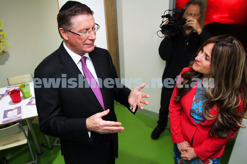 12-8-13. Hamerkaz Centre. Victorian Premier Dr Denis Napthine visits the new Centre to officially open the Lamdini School. The Premier chats with Dina Liberow. Photo: Peter Haskin