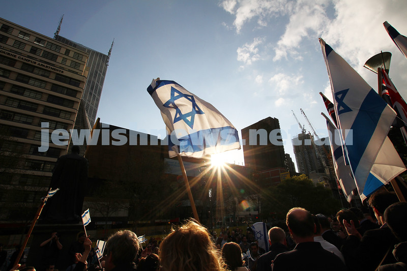 Say No to BDS 4-9-11. Anti BDS rally at the State Library . Organised by Victorian Young Liberals and the Australian Liberal Students' Federation.  Israeli flags being waved at the State Library. Photo: Peter Haskin
