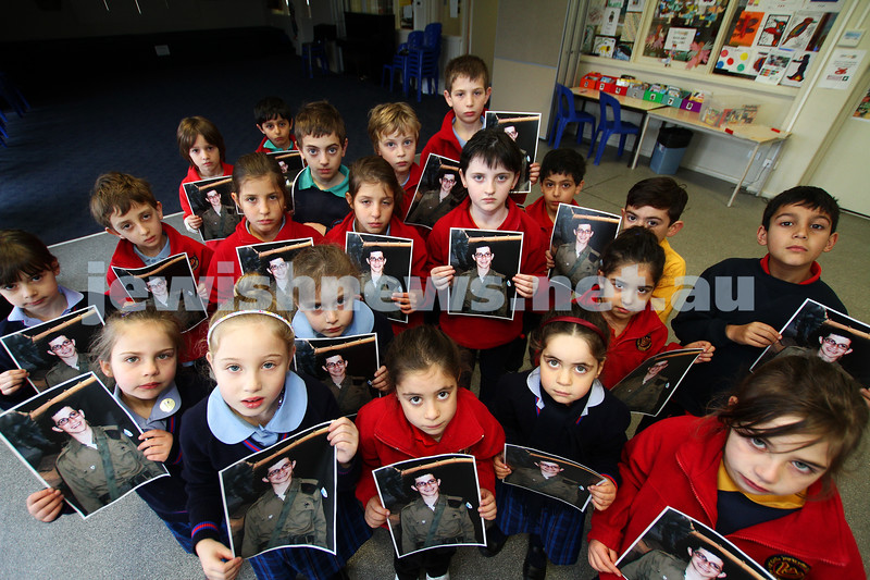 Melbourne's Sholem Aleichem College students showing support for kidnapped Israeli soldier Gilad Shalit 5 years after his capture. Photo: Peter Haskin