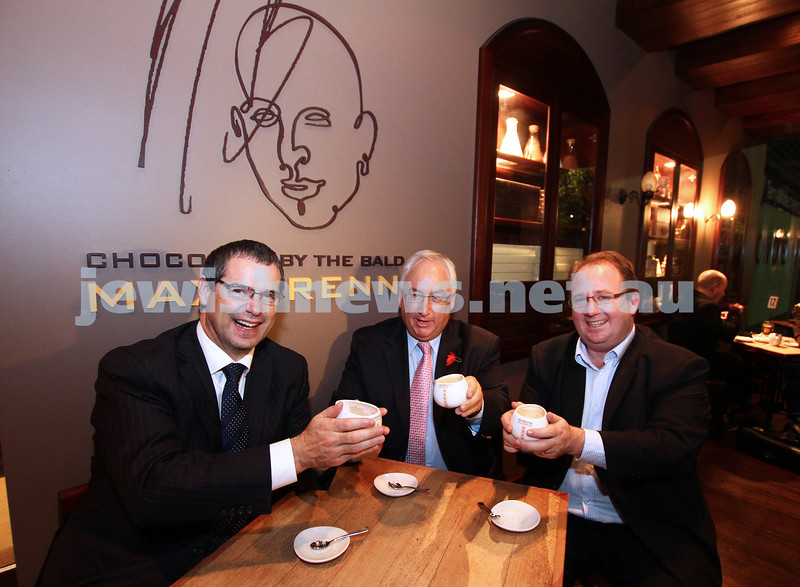 19-7-11. Steven Conroy, Michael Danby and David Feeney showing their solidarity against the BDS with a hot chocolate at Max Brenner's in South Melbourne. Photo: Peter Haskin
