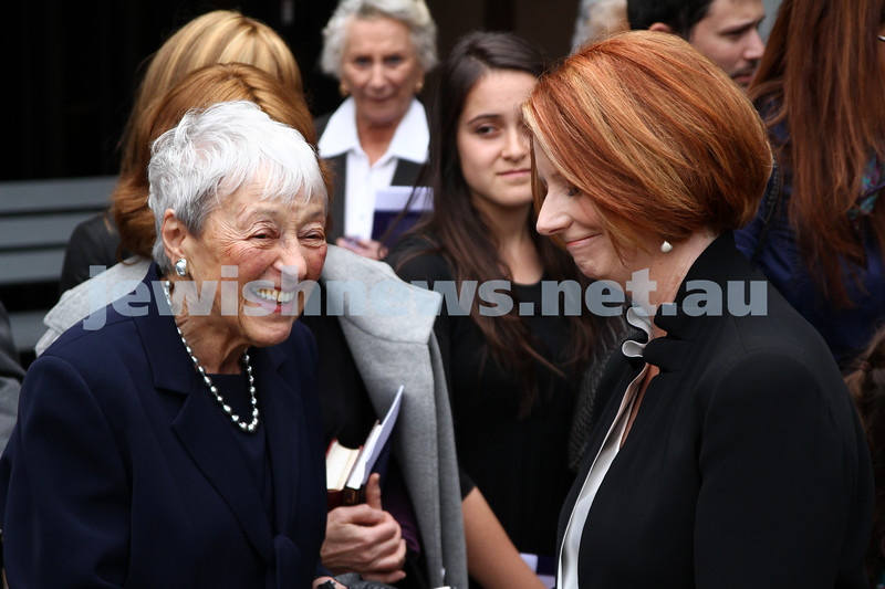 13-12-11. Memeorial service for former Australian Governer General, Sir Zelman Cowen. Held at Temple Beth Israel, Alma Rd., East St Kilda. Lady Anna Cowen greeted by Australian Prime Minister Julia Gillard. Photo copyright: AJN/Peter Haskin.