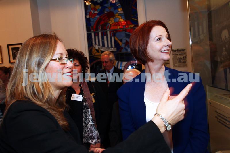 26-7-12. Australian Prime Minister Julia Gillard tours the Jewish Holocaust Museum and Research Centre with head Curator Jane Josem . Photo: Peter Haskin