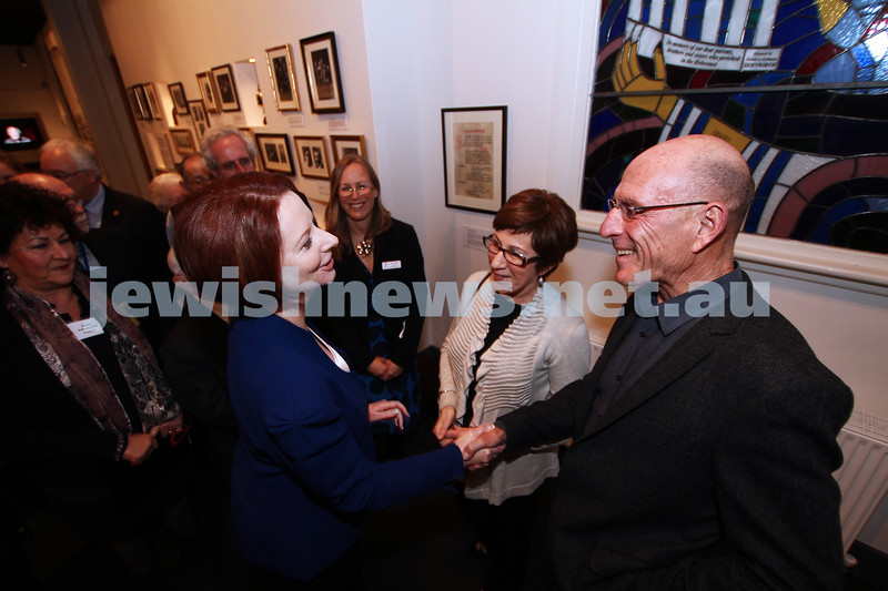 26-7-12. Australian Prime Minister Julia Gillard tours the Jewish Holocaust Museum and Research Centre. Photo: Peter Haskin