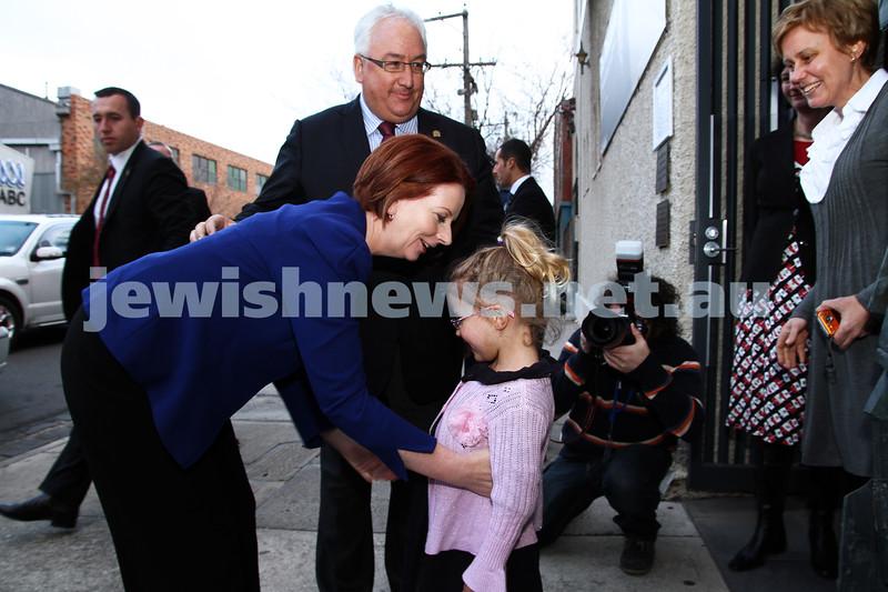 26-7-12. Holocaust Museum & Research Centre, Melbourne. Austrlian Prime Minister Julia Gillard   arrives at the Jewish Holocaust Centre. Photo: Peter Haskin