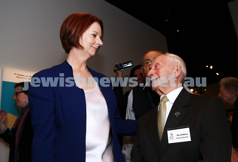 26-7-12. Australian Prime Minister Julia Gillard tours the Jewish Holocaust Museum and Research Centre. Pictured with Abraham Goldberg. Photo: Peter Haskin