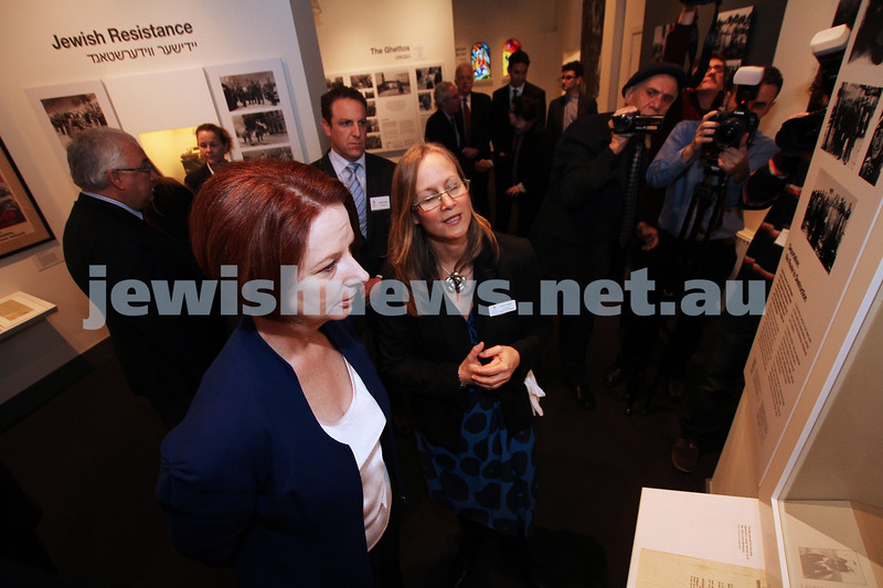 26-7-12. Australian Prime Minister Julia Gillard tours the Jewish Holocaust Museum and Research Centre with head Curator Jane Josem . Photo: Peter Haskin