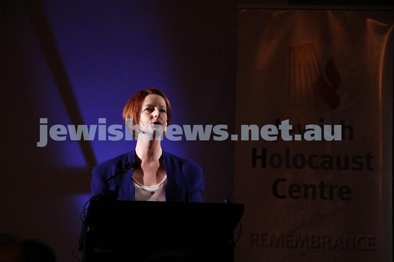 26-7-12. Australian Prime Minister Julia Gillard speaking at the Jewish Holocaust Museum and Research Centre where she announced a $500,000 government grant for Auschwitz rememberence. Photo: Peter Haskin