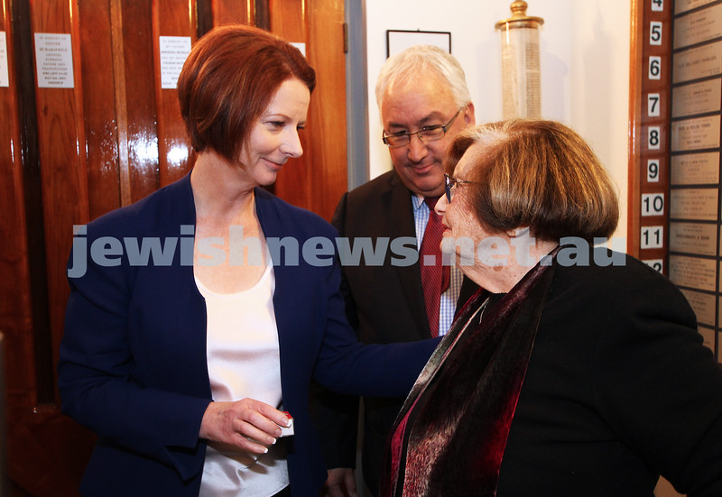 26-7-12. Australian Prime Minister Julia Gillard meets with Survivor Kitia Altman at the Jewish Holocaust Museum in Melbourne. Michael Danby looks on. Photo: Peter Haskin