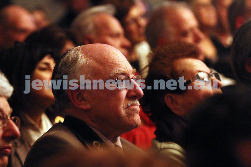 26-7-12. Part of the audience at the Holocaust Museum where the Prime Minister Julia Gillard announced a grant of $500,000 for Auschwitz memorial. Pictured here is Paul Gardiner. Photo: Peter Haskin