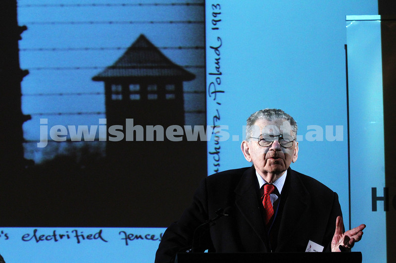 26-7-12. Holocaust survivor Willy Lermer speaking at the Holocaust Museum where the Prime Minister Julia Gillard announced a $500,000 grant for Auschwitz rememberence. Photo: Peter Haskin