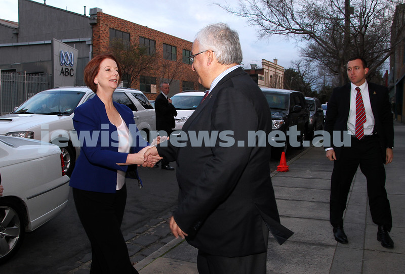 26-7-12. Holocaust Museum & Research Centre, Melbourne. FederaL Memeber for Melbourne Ports, Michael Danby greets Austrlian Prime Minister Julia Gillard as she arrives at the Jewish Holocaust Centre. Photo: Peter Haskin
