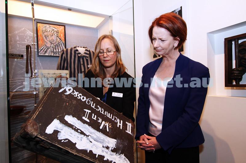 26-7-12. Australian Prime Minister Julia Gillard tours the Jewish Holocaust Museum and Research Centre with Head Curator Jane Josem.  Photo: Peter Haskin