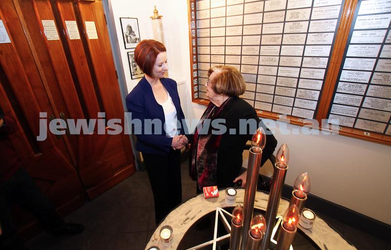 26-7-12. Australian Prime Minister Julia Gillard meets with Survivor Kitia Altman at the Jewish Holocaust Museum in Melbourne. Photo: Peter Haskin