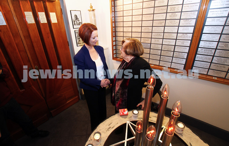 26-7-12. Australian Prime Minister Julia Gillard meets with Survivor Kitia Altman at the Jewish Holocaust Museum in Melbourne. Photo: Peter Haskin