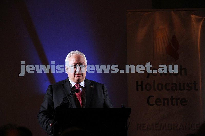 26-7-12. Federal member for Melbourne Ports Michael Danby speaks at the Jewish Holocaust Museum and Research Centre where the government pledged $500,000 for Auschwitz rememberence. Photo: Peter Haskin