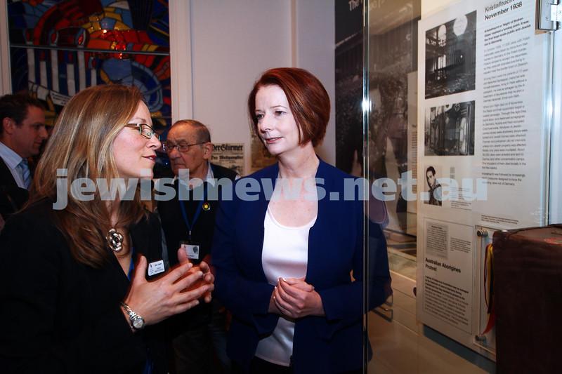26-7-12. Australian Prime Minister Julia Gillard tours the Jewish Holocaust Museum and Research Centre with Head Curator, Jane Josem. Photo: Peter Haskin