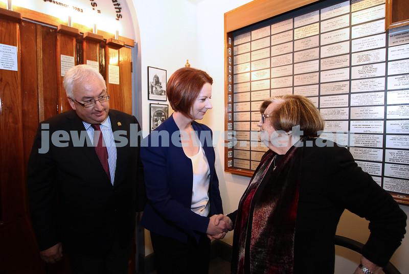 26-7-12. Australian Prime Minister Julia Gillard meets with Survivor Kitia Altman at the Jewish Holocaust Museum in Melbourne. Michael Danby looks on. Photo: Peter Haskin