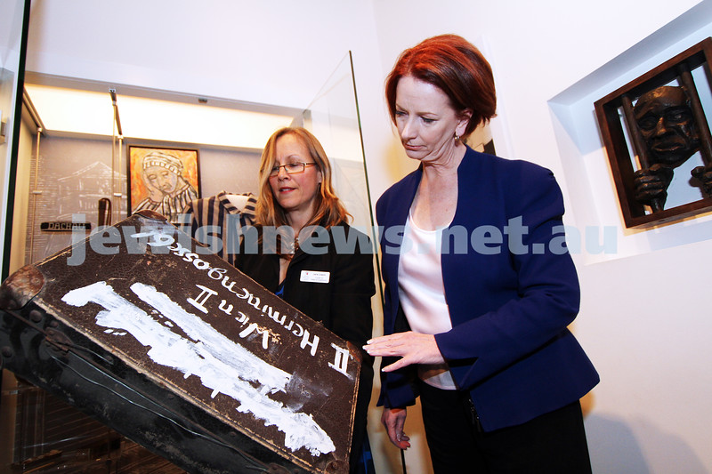 26-7-12. Australian Prime Minister Julia Gillard tours the Jewish Holocaust Museum and Research Centre with Head Curator Jane Josem.  Photo: Peter Haskin
