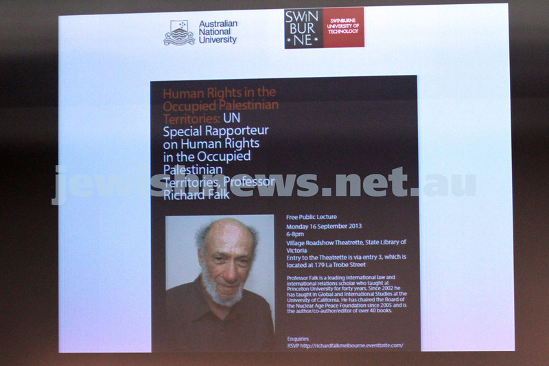 """16-9-13. State Library of Victoria. Lecture by Richard Falk on """" Human Rights in the Occupied Palestinian Territories"""".  Photo: Peter Haskin"""