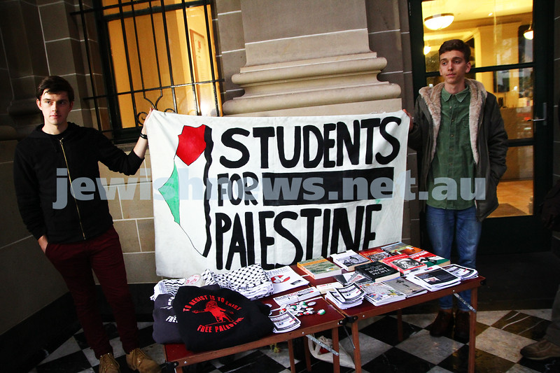 """16-9-13. State Library of Victoria. Lecture by Richard Falk on """" Human Rights in the Occupied Palestinian Territories"""".  Some of the material on display from the Students for Palestine organisation. Photo: Peter Haskin"""