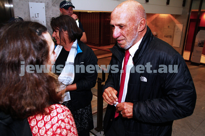 "16-9-13. State Library of Victoria. Lecture by Richard Falk on "" Human Rights in the Occupied Palestinian Territories"".  Richard Falk talks with a member of the public as he arrives at the State Library. Photo: Peter Haskin"