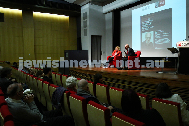 """16-9-13. State Library of Victoria. Lecture by Richard Falk on """" Human Rights in the Occupied Palestinian Territories"""". A sparse audience at the Village Roadshow Theatrette. Photo: Peter Haskin"""